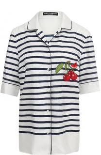 Шелковая блуза в пижамном стиле в полоску Dolce & Gabbana