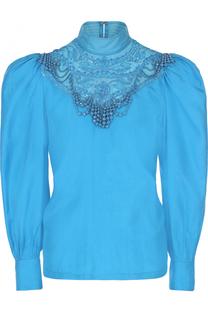 Шелковая блуза с рукавом-фонарик и вышивкой бисером Dries Van Noten