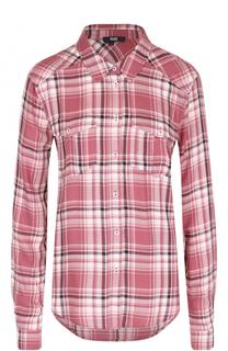Блуза в клетку с накладными карманами Paige