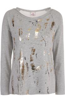 Пуловер с контрастной металлизированной отделкой Deha