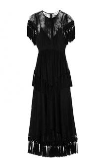 Кружевное платье-миди с бахромой Alice McCall