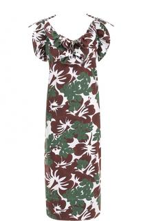 Платье с цветочным принтом и оборками Rosie Assoulin