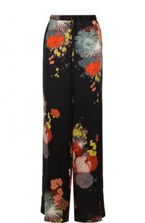 Широкие шелковые брюки с цветочным принтом Dries Van Noten
