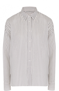 Шелковая блуза прямого кроя в полоску Vince