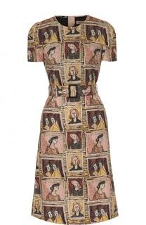 Хлопковое платье с поясом и принтом Burberry