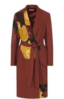 Пальто с цветочным принтом и поясом Dries Van Noten