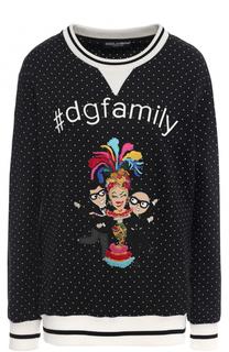 Свитшот с контрастными манжетами и нашивкой Dolce & Gabbana
