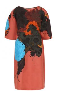 Хлопковое платье прямого кроя с цветочным принтом Dries Van Noten