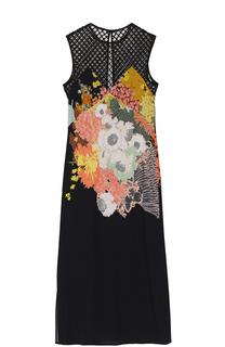 Платье с перфорированным лифом и цветочным принтом Dries Van Noten