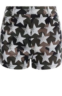 Джинсовые мини-шорты с принтом в виде звезд Valentino