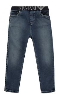 Джинсы прямого кроя с эластичным поясом и логотипом бренда Giorgio Armani