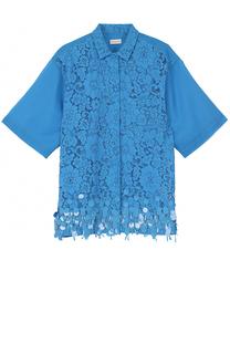 Кружевная блуза с пайетками и полупрозрачной спинкой Dries Van Noten