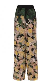 Широкие брюки с эластичным поясом и принтом Dries Van Noten