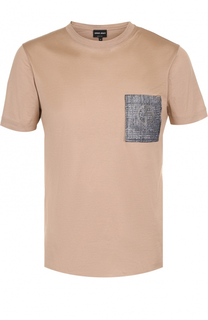 Хлопковая футболка с накладным карманом Giorgio Armani
