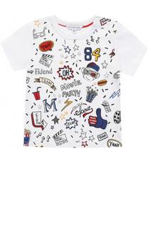 Хлопковая футболка с принтом и нашивками Marc Jacobs