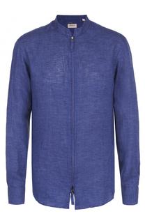 Льняная рубашка на молнии с воротником-стойкой Armani Collezioni