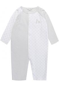 Хлопковая пижама в полоску с комбинированным рисунком в горох Kissy Kissy