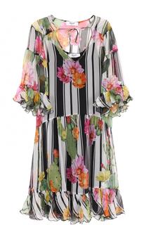 Шелковое мини-платье с цветочным принтом Blugirl