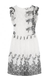 Кружевной мини-платье с цветочной вышивкой Blugirl