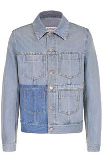 Джинсовая куртка с контрастной отделкой и накладными карманами Maison Margiela