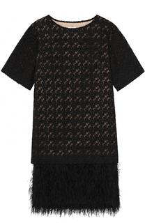 Платье прямого кроя с отделкой из пера страуса Dries Van Noten