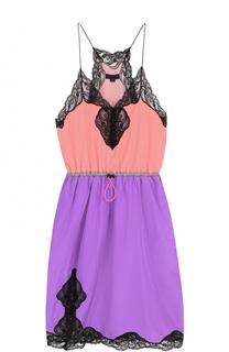 Приталенное мини-платье с контрастной кружевной отделкой Alexander Wang