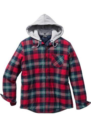 Рубашка Regular Fit на ватной подкладке (красный в клетку)