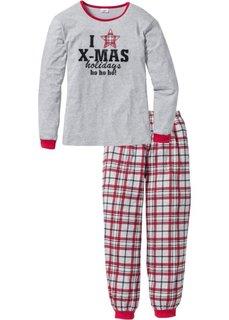 Пижама (светло-серый меланж/красный с принтом) Bonprix