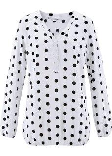Однотонная блузка с длинными рукавами (белый в горошек) Bonprix
