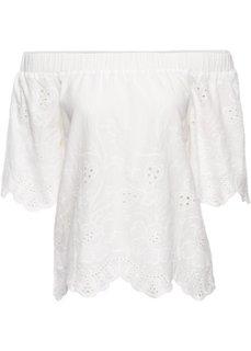 Блузка-кармен с вышивкой (белый) Bonprix