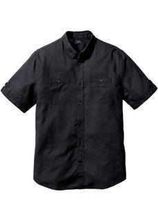Рубашка Regular Fit из льна и хлопка (черный) Bonprix