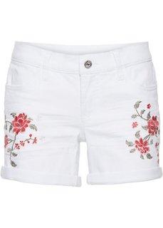 Джинсовые шорты с вышивкой (белый деним) Bonprix