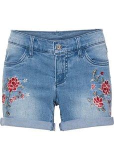 Джинсовые шорты с вышивкой (голубой) Bonprix