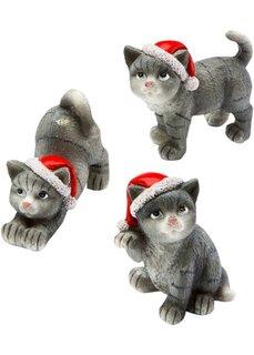 Новогодние фигурки Кошечка (3 шт.) (серый/красный/белый) Bonprix