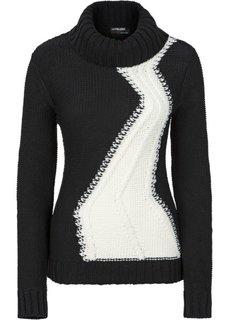 Пуловер (черный/белый) Bonprix