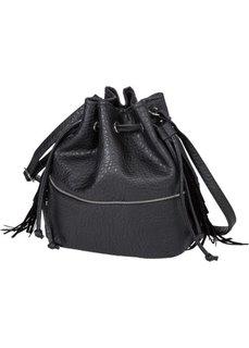 Сумка-мешок с бахромой и молниями (черный) Bonprix