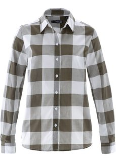 Хлопковая блузка (темно-оливковый/белый в клетку) Bonprix