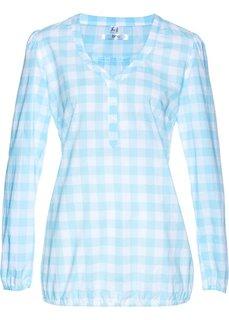 Хлопковая блузка (синий топаз/белый в клетку) Bonprix