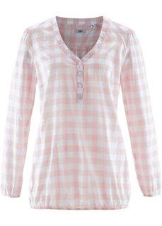 Хлопковая блузка (розовый жемчуг/белый в клетку) Bonprix