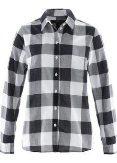 Хлопковая блузка (черный/белый в клетку) Bonprix