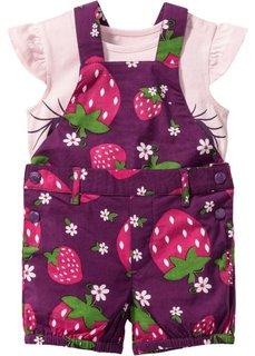 Мода для малышей: комбинезон + футболка + платок (3 изд.), Размеры  68/74-104/110 (лиловая фиалка/нежно-розовый) Bonprix