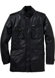 Удлиненная куртка Regular Fit из искусственной кожи (черный) Bonprix