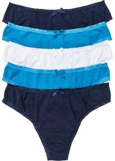 Трусики-стринги (5 шт.) (капри-синий + темно-синий + белый) Bonprix