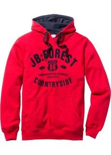 Свитшот Regular Fit с капюшоном (красный) Bonprix