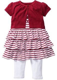 Мода для беременных: болеро + платье + легинсы из биохлопка (3 изд.), Размеры  68/74-104/110 (белый/темно-красный) Bonprix