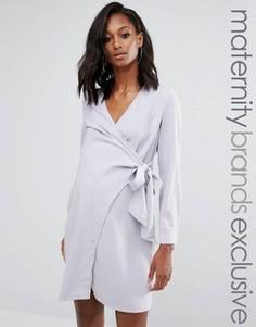 Платье-рубашка с запахом для беременных Missguided Maternity - Серый