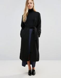 Черное кимоно с поясом Ganni Clark - Черный