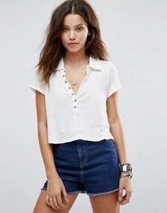 Рубашка с короткими рукавами Free People Holly - Кремовый