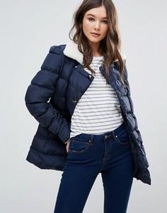 Дутое пальто с отделкой из искусственной цигейки Girls On Film - Темно-синий