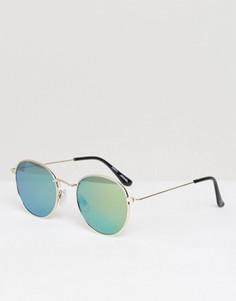 Круглые солнцезащитные очки с зеркальными стеклами Monki - Золотой
